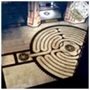 Labyrinth superimposed on floor of St. John the Divine, New York City